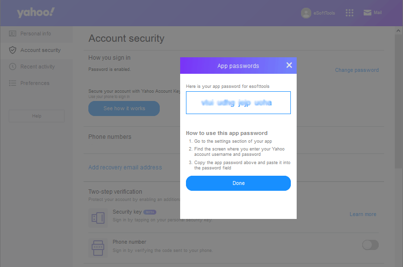 yahoo third party app password generated