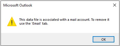 The data file is associated with a mail account OST