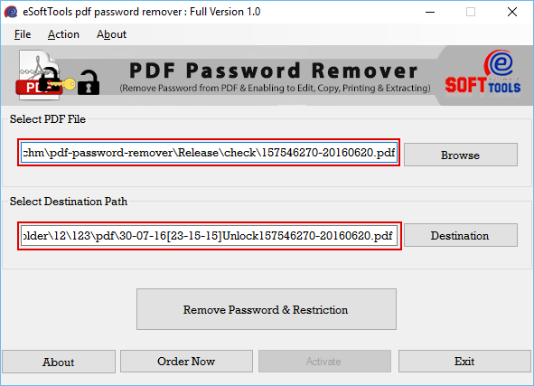 Click to view Remove PDF Password 1.0 screenshot