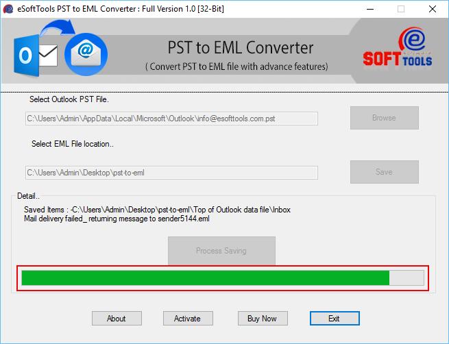 Windows 7 PST to EML 1.0 full