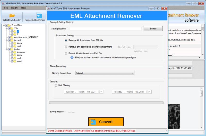 eSoftTools EML Attachment Remover full screenshot