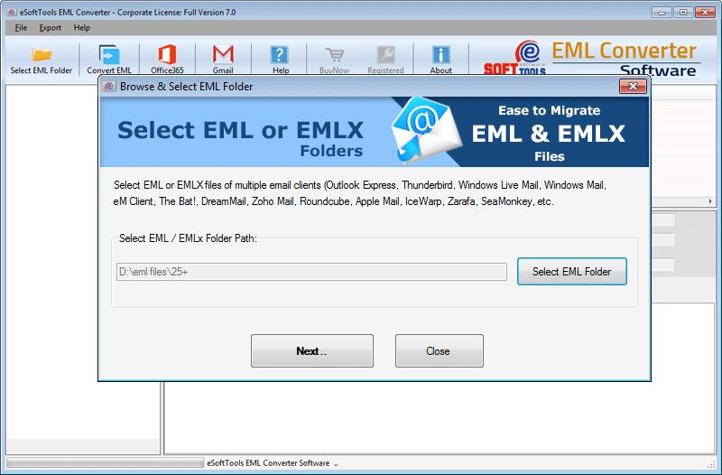 EML file/Folder selection