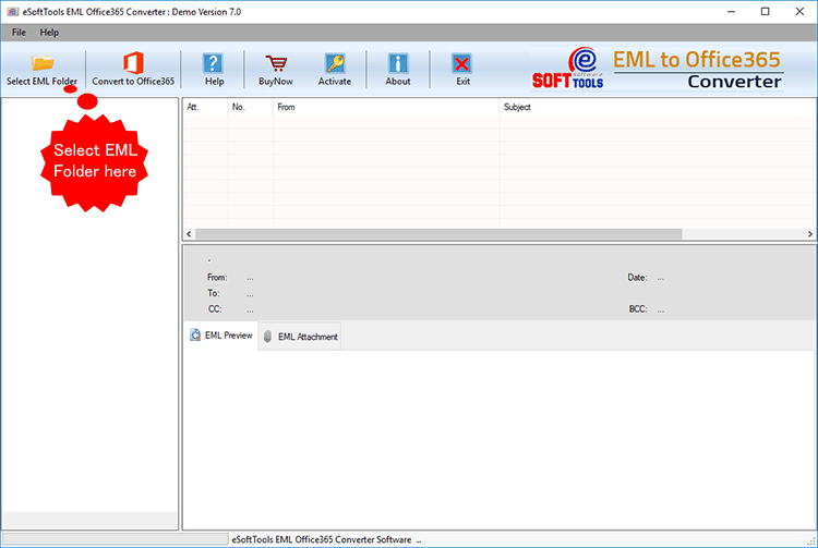 First screen of the EML to Gmail Converter Software
