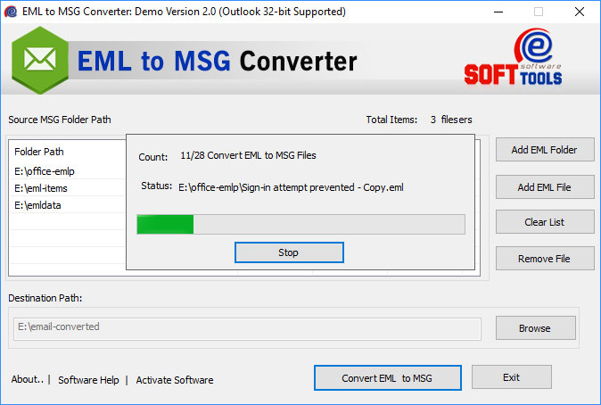 Convert EML file to MSG file