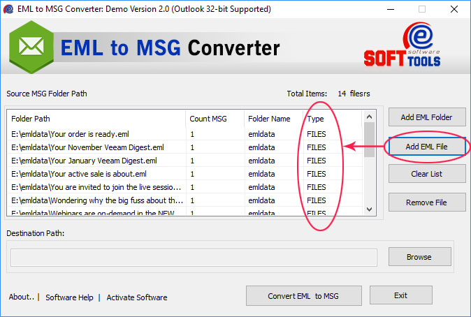 Export EML to MSG File