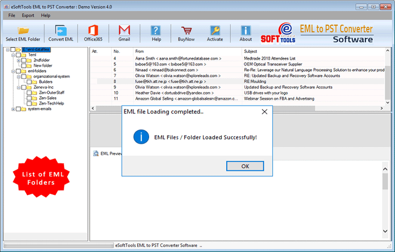 Add unlimited eml folders