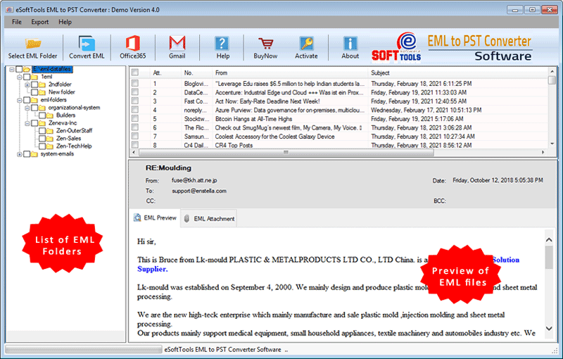 import eml to pst