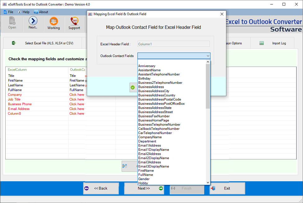 excel contacts to outlook