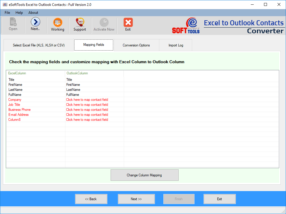 transfer excel contacts to outlook
