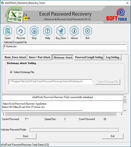 recover excel password dictionary attack