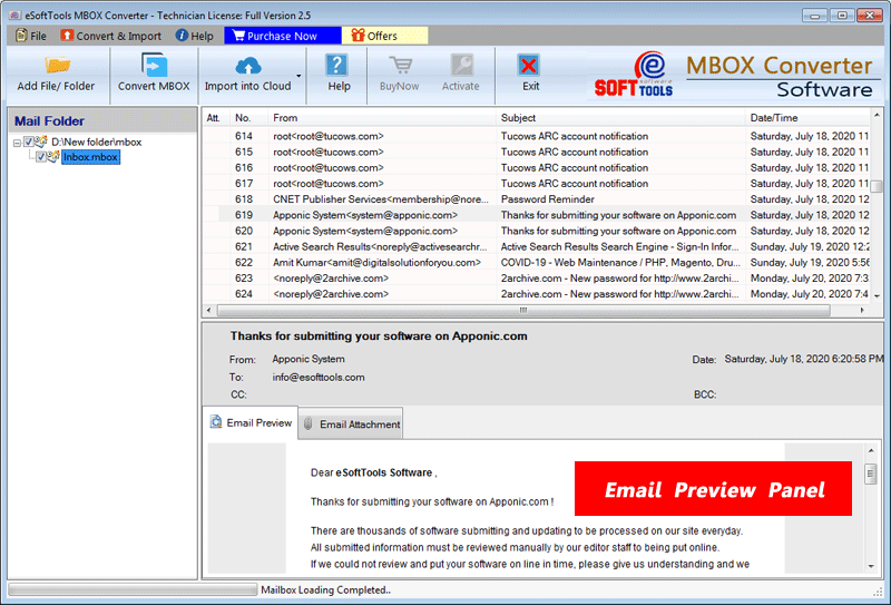 View MBOX file emails