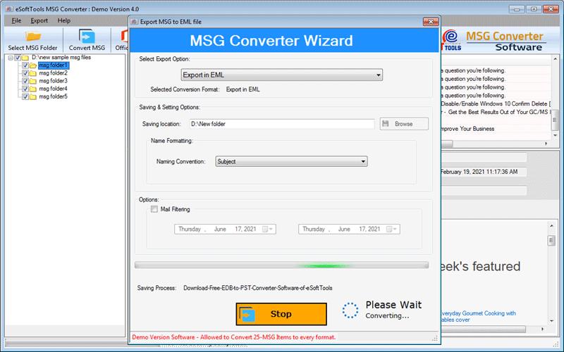 Convert MSG to EML, EMLX, PDF, HTML, & MHTML