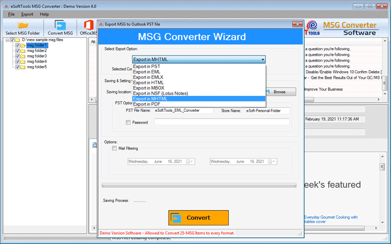 Convert MSG files