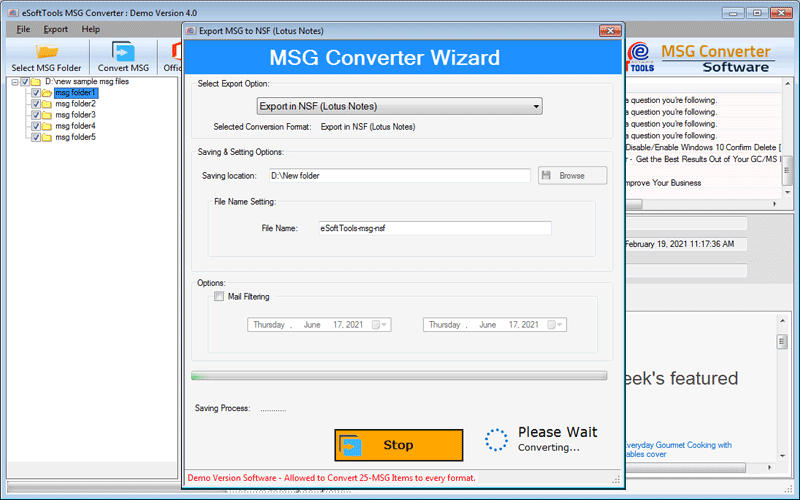 Convert MSG to NSF