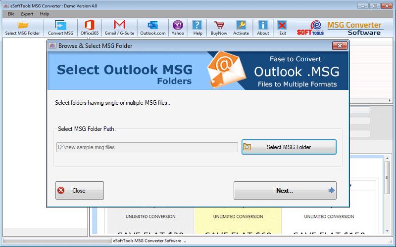select MSG Folder