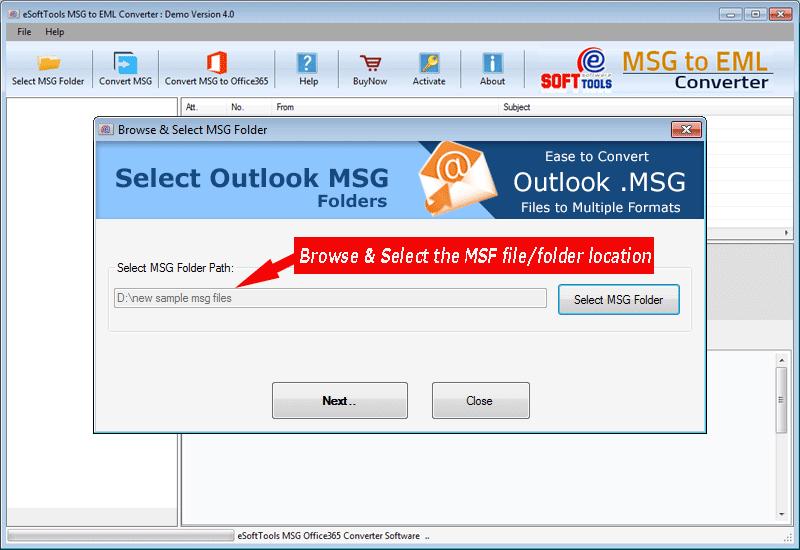 Select MSG folder location