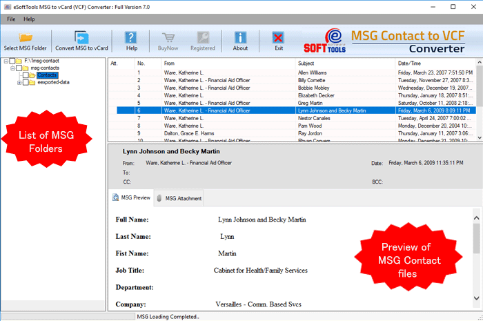 Export MSG to vCard tool