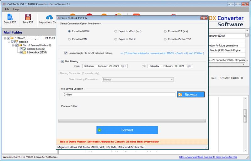eSoftTools PST to MBOX Converter full screenshot