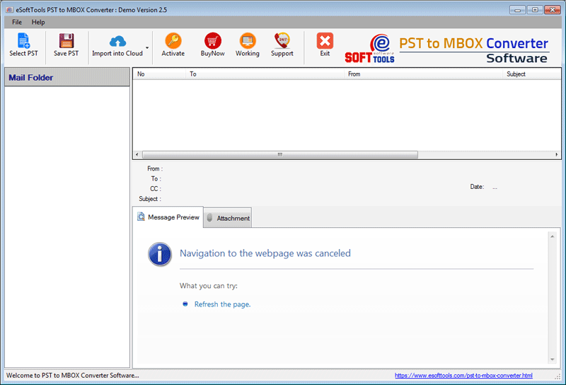 PST to MBOX Converter main screen