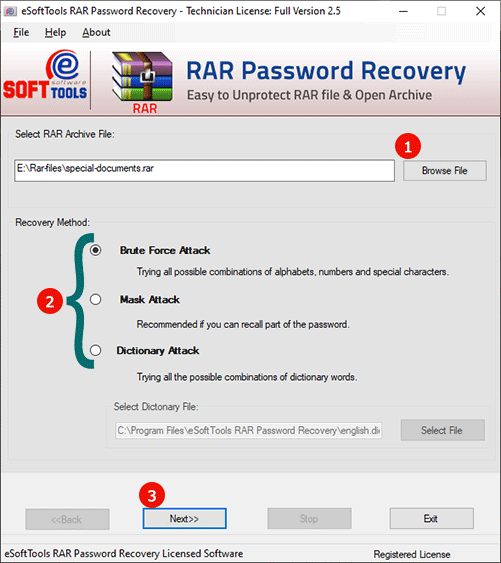 Various recovery methods to unlock RAR file password