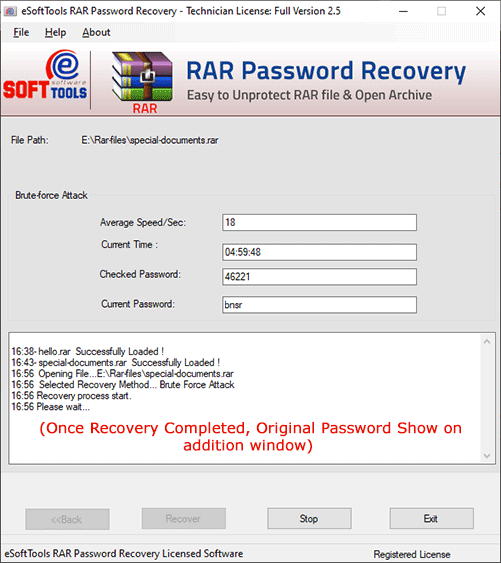 Working status of RAR file password recovery