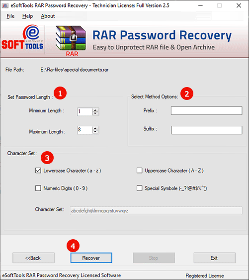 Working panel of RAR Password Unlocker