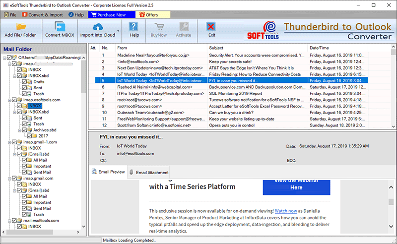 convert thunderbird to outlook