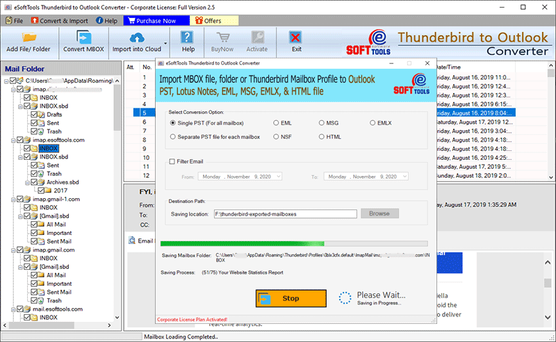 Export Thunderbird to PST