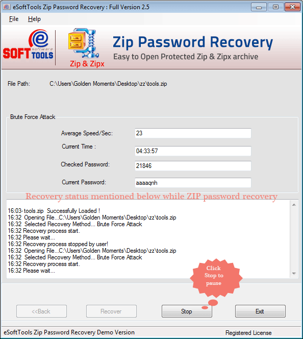 Working status of ZIP file password recovery