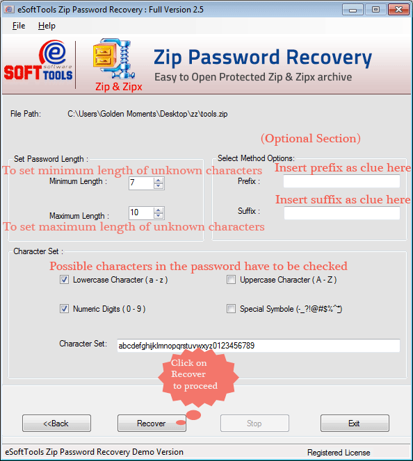 Working panel of ZIP Password Unlocker